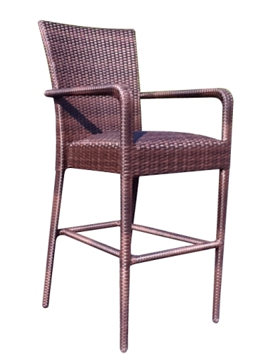 Model WCS593089 All Weather Wicker Padded Seat Barstool w/Arms