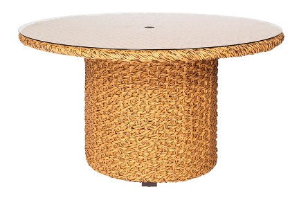 Model WCS520702 All Weather Wicker Round Umbrella Table w/Glass Top